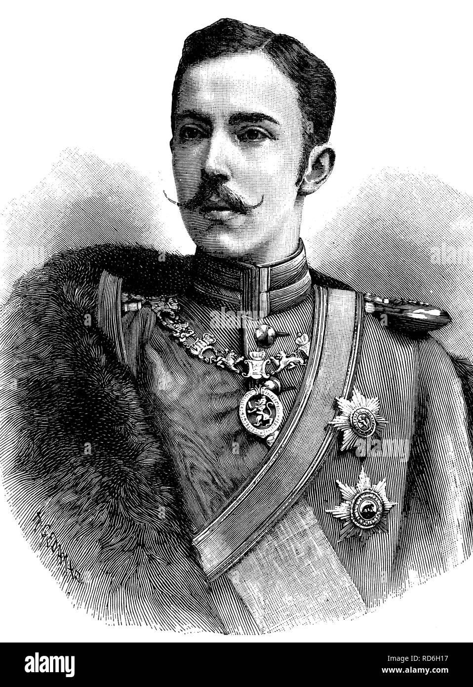 Prince Frederick Charles of Hesse, 1868 - 1940, King of Finland, historical illustration circa 1893 - Stock Image