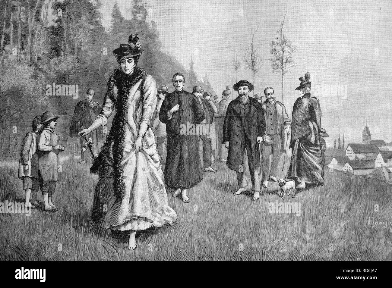 Kneipp cure, people walking barefoot on damp grass in Woerishofen, Bavaria, Germany, historical picture, about 1893 Stock Photo