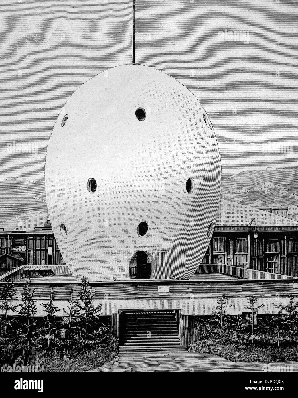 The egg of Columbus at the Columbus show in Genoa, Italy, historical illustration circa 1893 - Stock Image