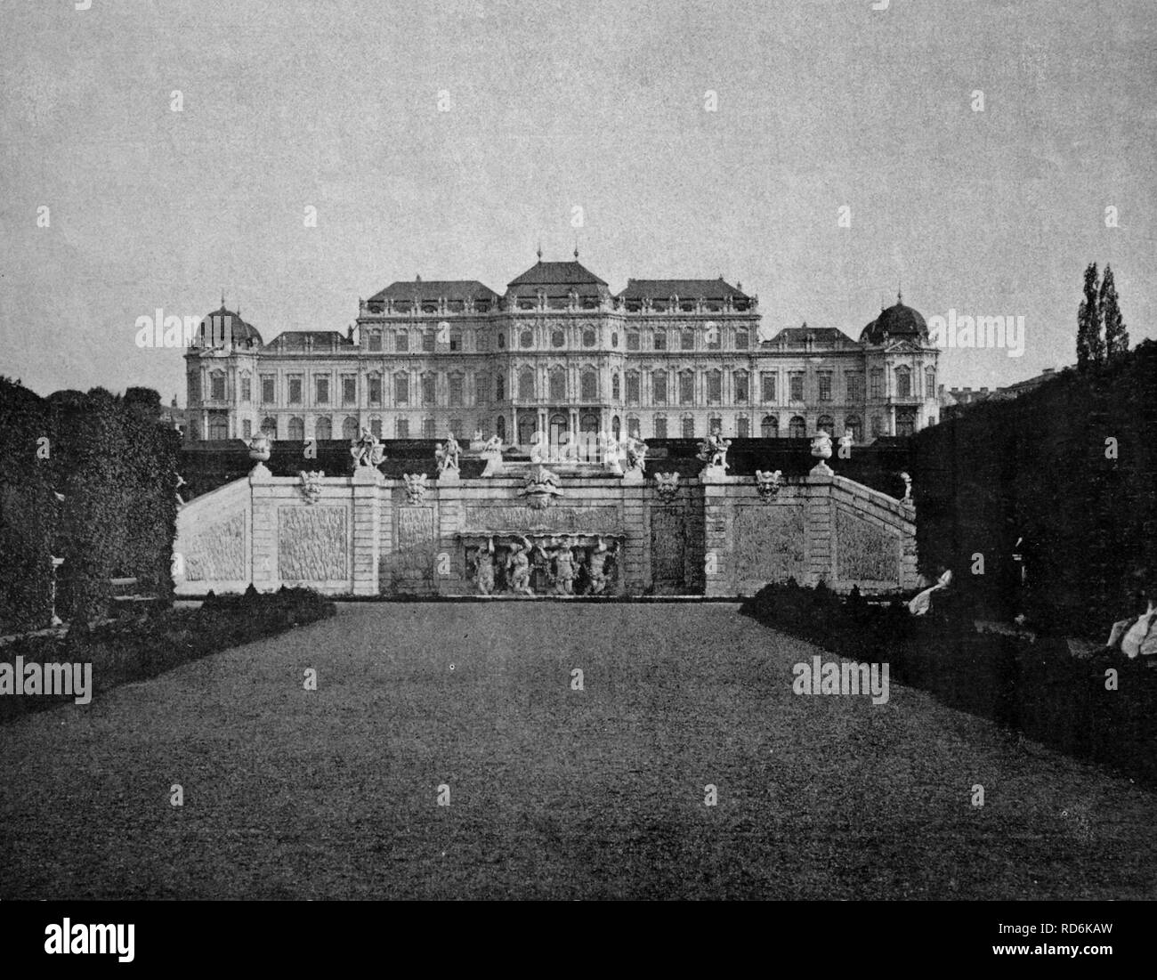 One of the first autotypes of the Belvedere Palace in Vienna, historical photograph, 1884 Stock Photo