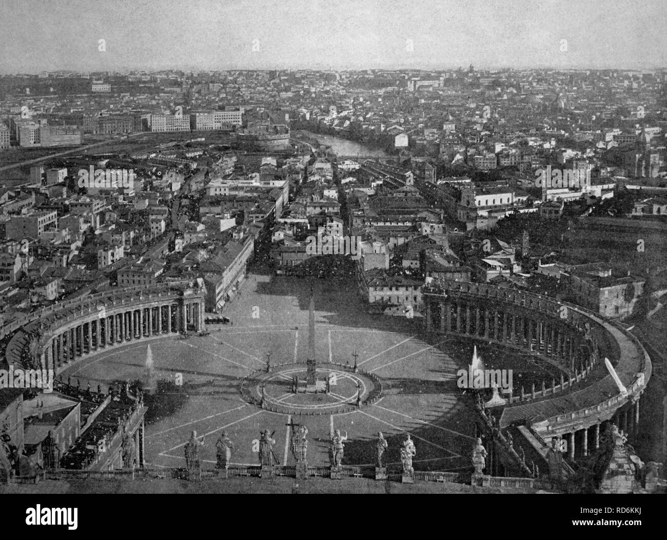 Early autotype of Rome, Italy, historical picture, 1884 - Stock Image