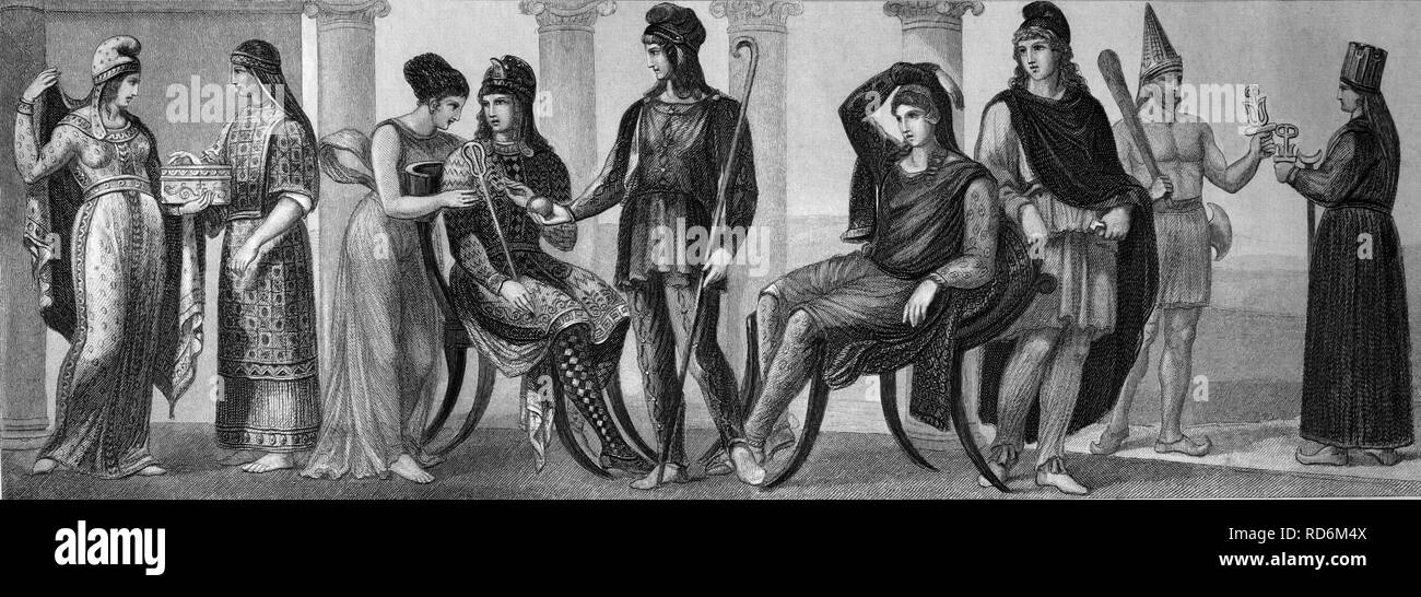 Fashion, costumes from ancient times, from left: Phrygian women's costume, old Lydian women's costume, Coan robe, Phrygian men's - Stock Image