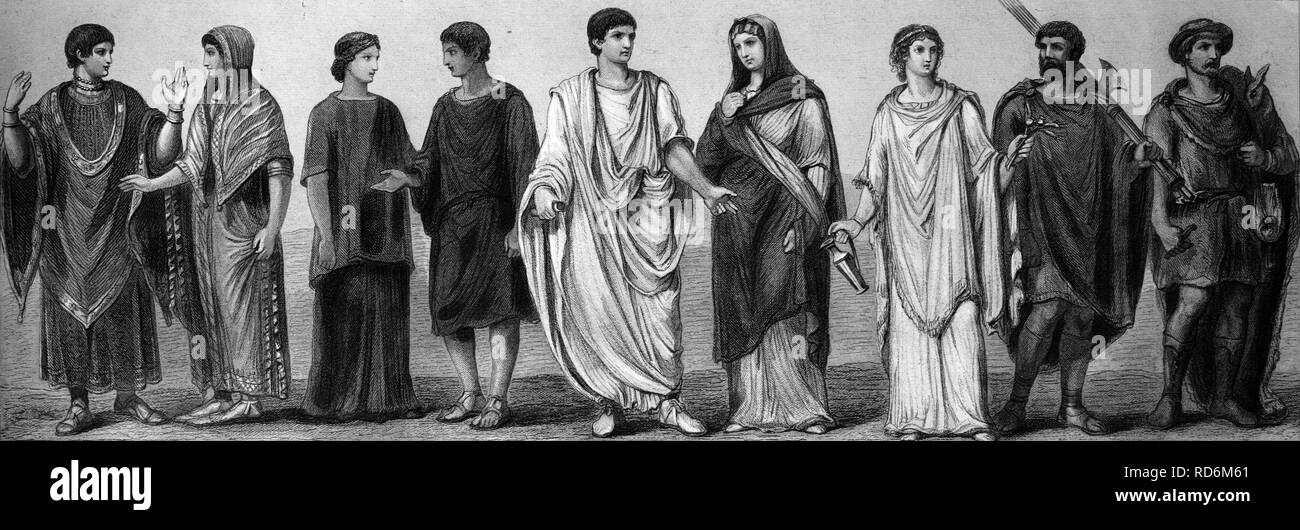 Fashion, costumes from ancient times, from left: two Etruscan costumes, Roman women's costume, tunic, toga - Stock Image