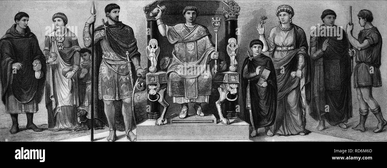 Fashion, costumes from ancient times in Rome, from left: two Rhenish-Roman costumes, commander circa 430, Late Roman consular - Stock Image