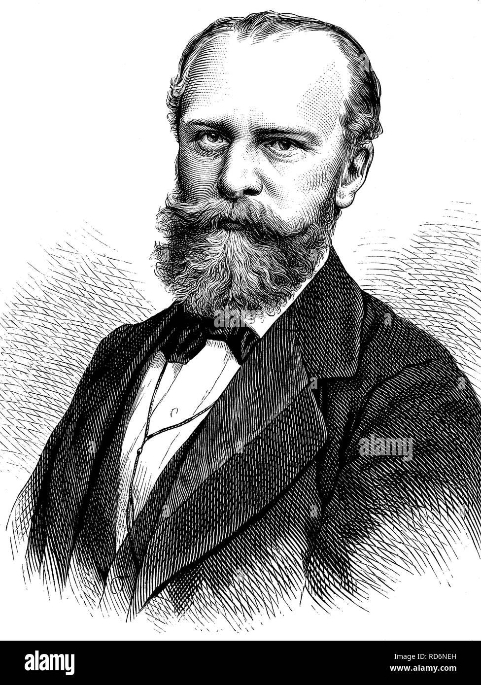 Julius Wolff, 1834-1910, German poet and writer, historical illustration, circa 1886 - Stock Image