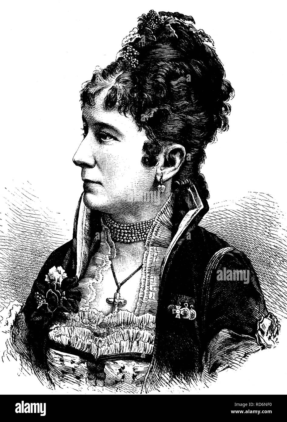 Charlotte Wolter, 1834-1897, actress, historical illustration, circa 1886 - Stock Image