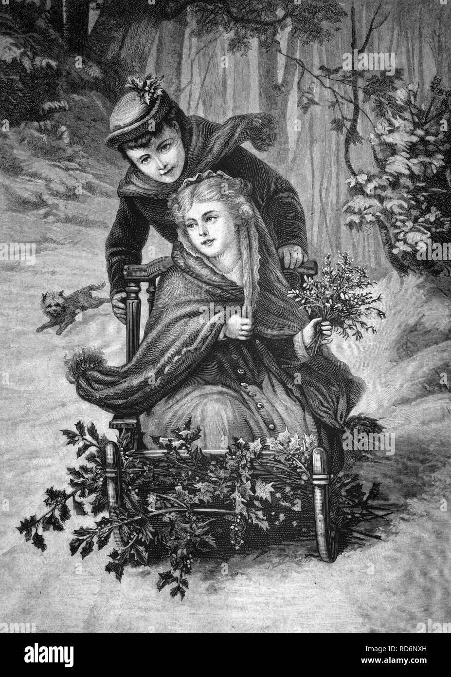 Winter pleasures, historical illustration, about 1886 Stock Photo