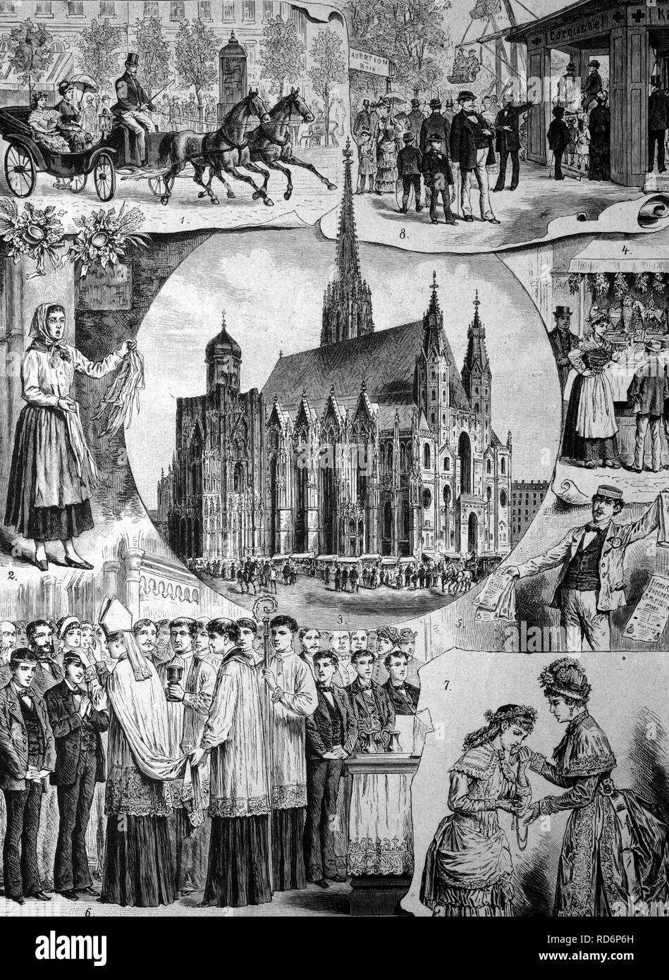 Whitsun week in Vienna, Austria, historical illlustrations, about 1886 - Stock Image