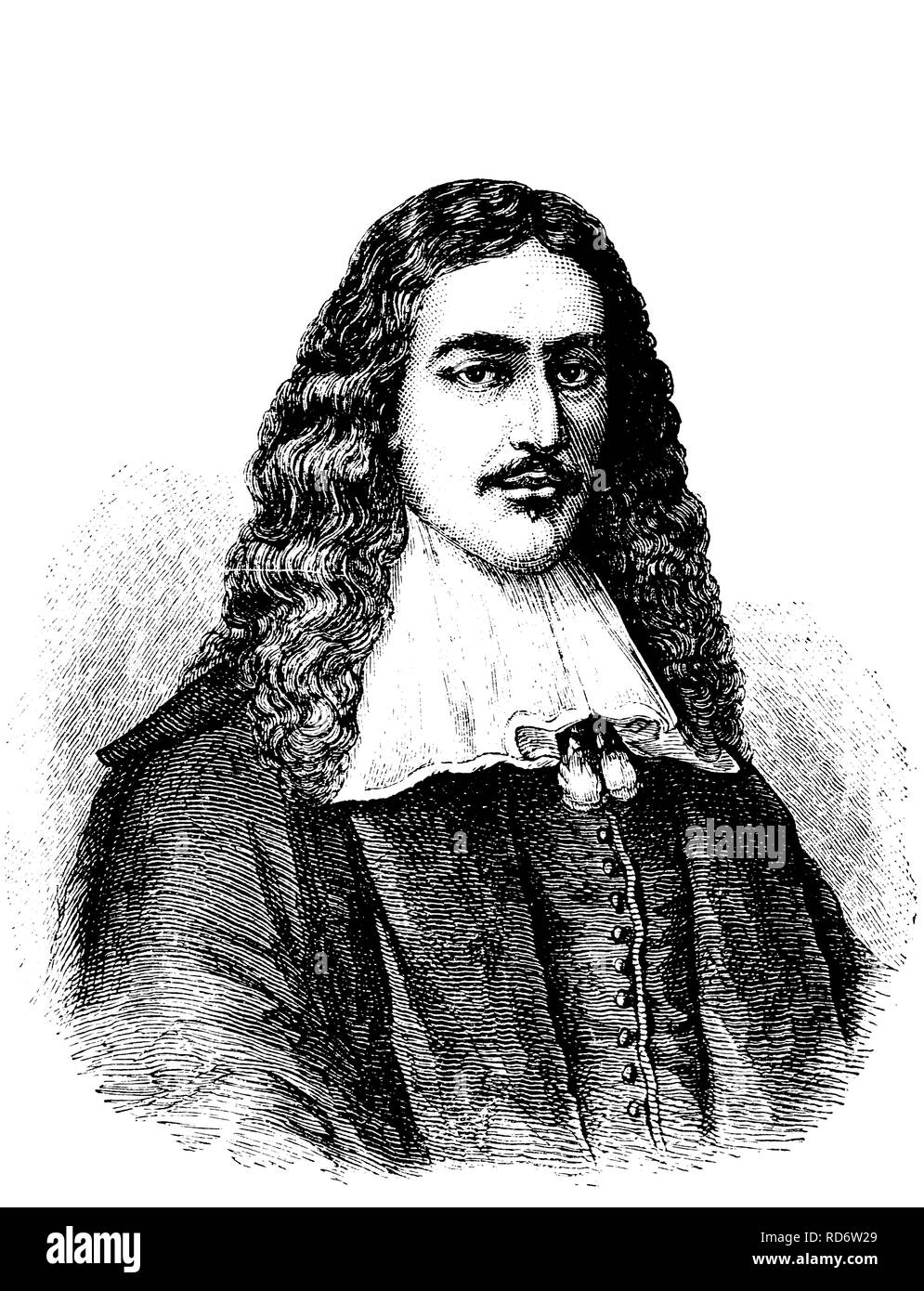 Johan de Witt, 1625 - 1672, council pensionary of Holland, woodcut from 1880 - Stock Image