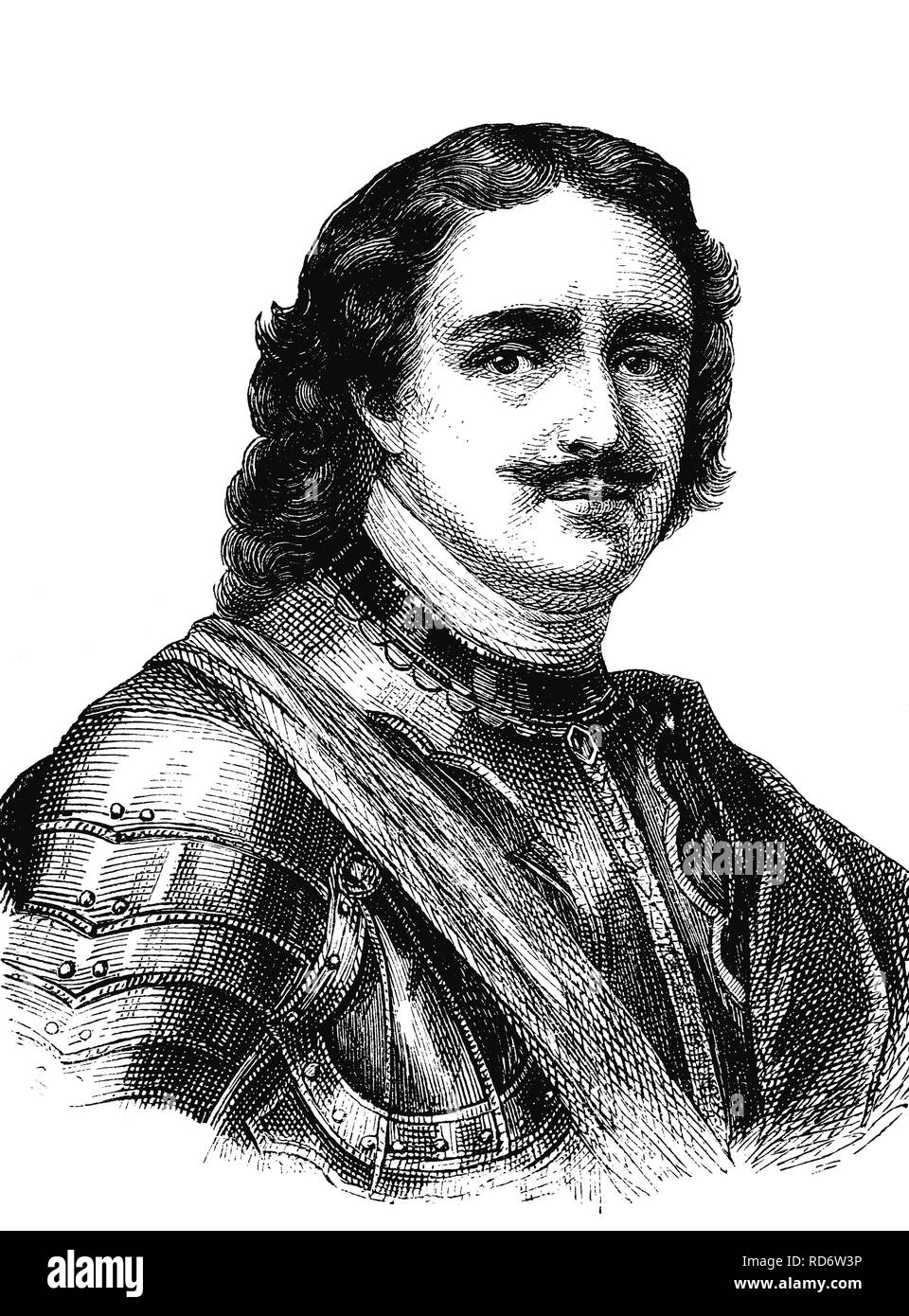 Peter I. the Great, Tsar of Russia and first emperor of the Russian Empire, woodcut from 1880 - Stock Image