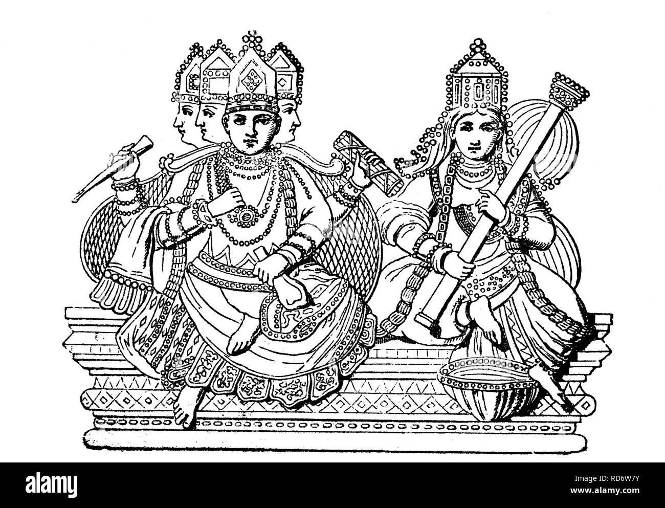 Brahma and Saraswati, Hindu gods, India, woodcut from 1880 - Stock Image