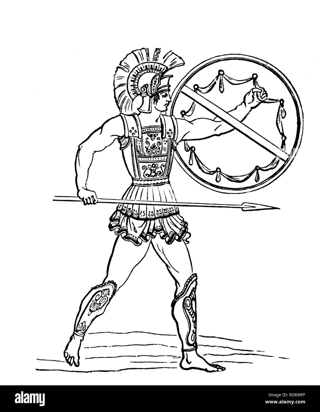 A Hoplite, a citizen-soldier of one of the Ancient Greek city-states of the archaic and classical period, woodcut from 1880 - Stock Image