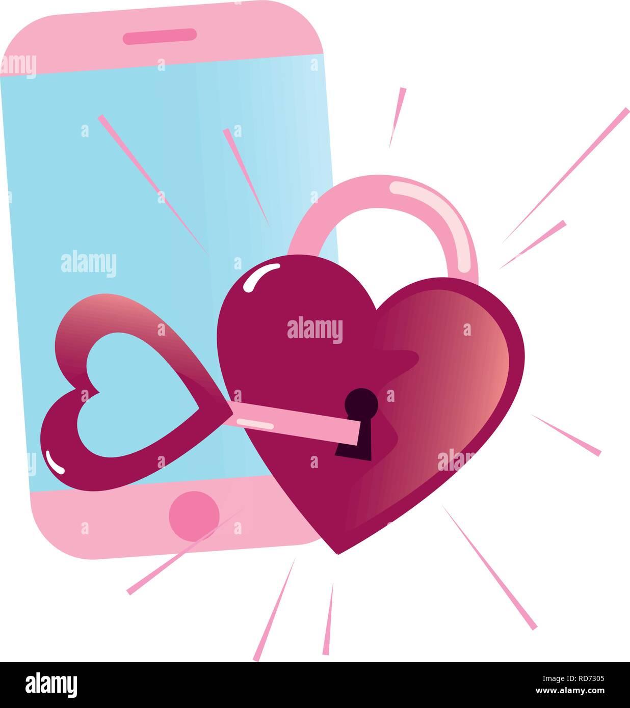 cellphone padlock love key happy valentines day vector illustration - Stock Image