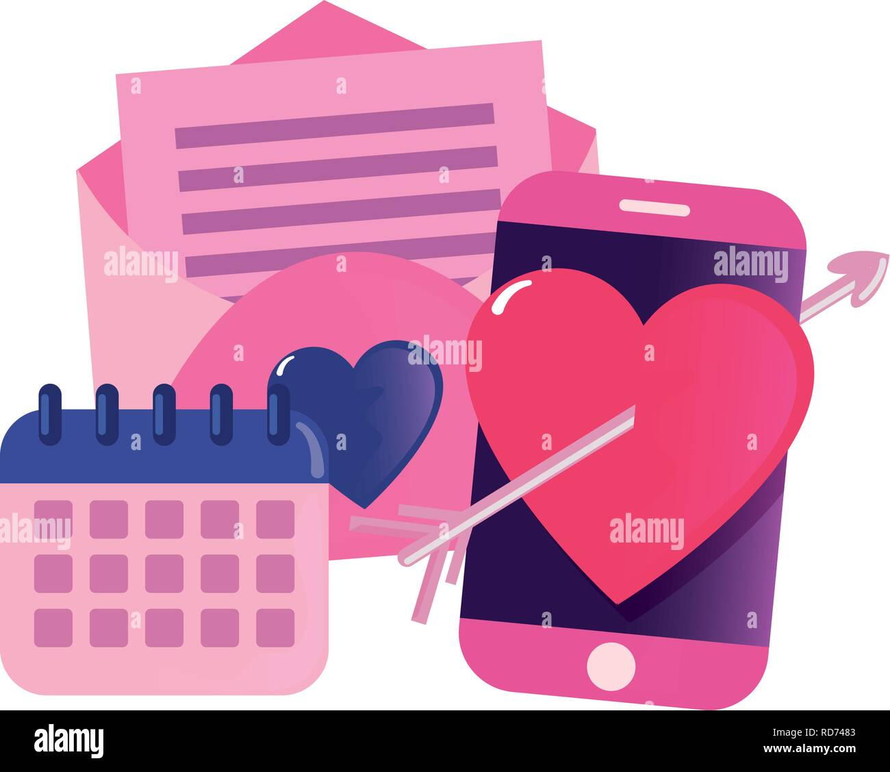 cellphone mail calendar happy valentines day vector illustration - Stock Vector