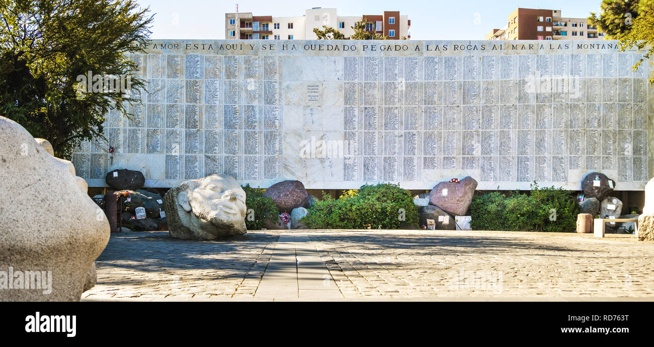 Monument to the disappeared of dictatorship at Santiago Cemetery - Santiago, Chile - Stock Image