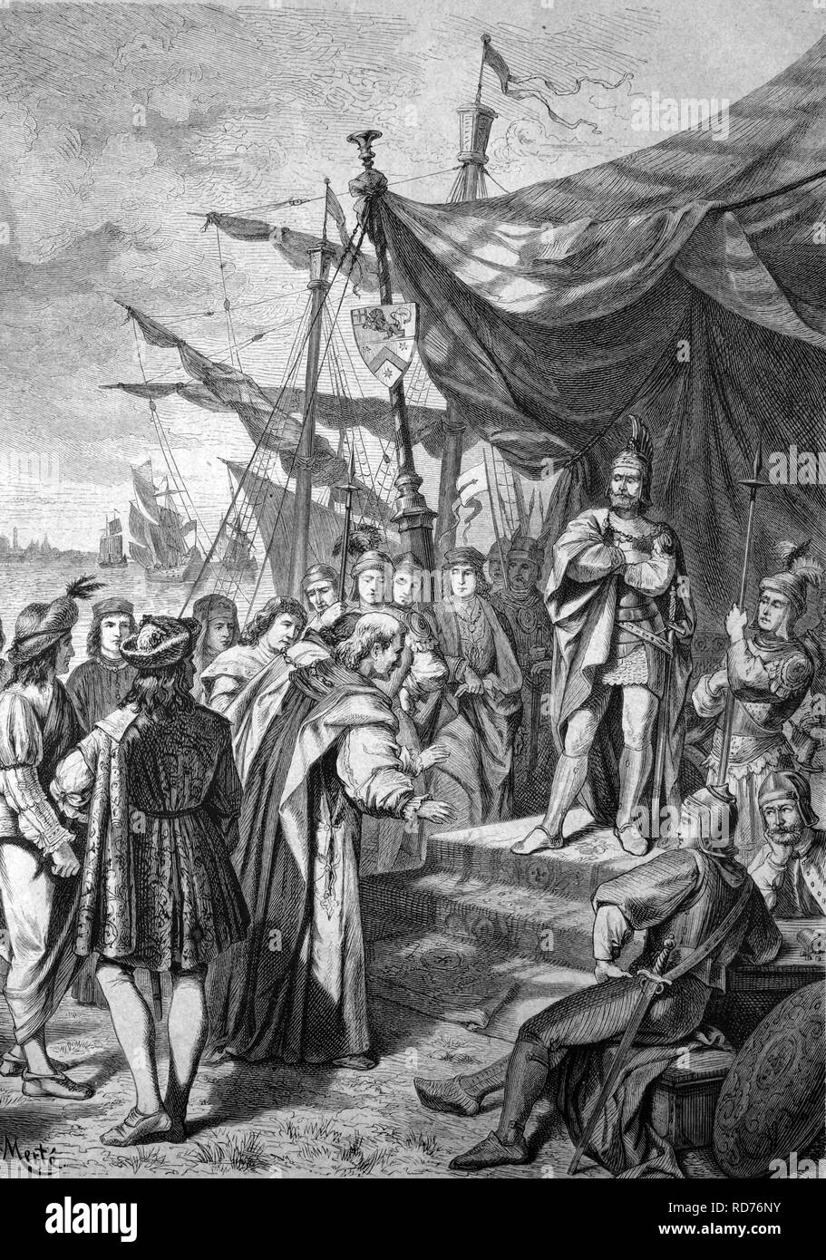 Pietro Doria rejecting the pleading of the Venetian ambassador for peace following the siege of Venice, historical illustration - Stock Image