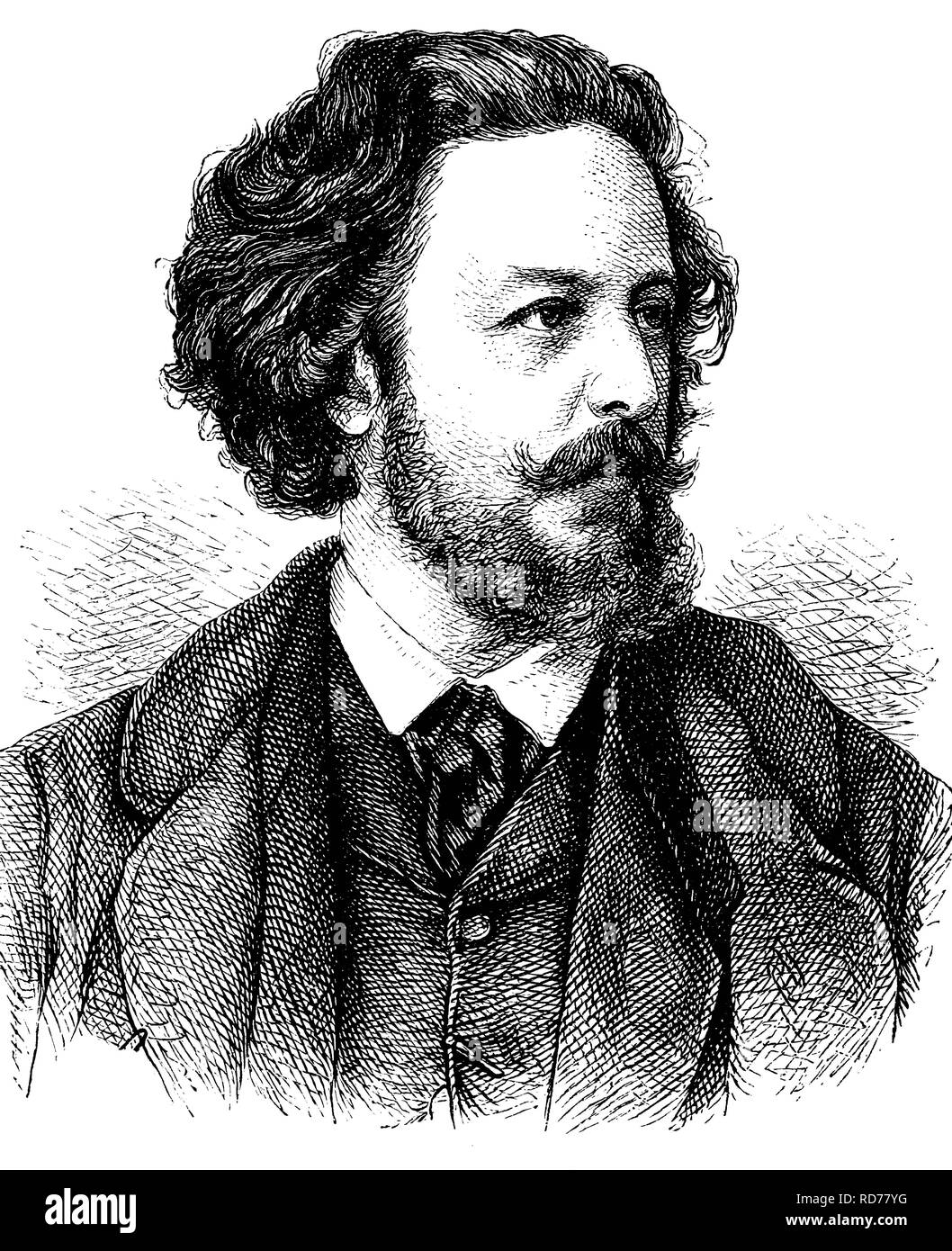 Paul Heyse, 1830-1914, German writer, historical illustration, circa 1886 - Stock Image