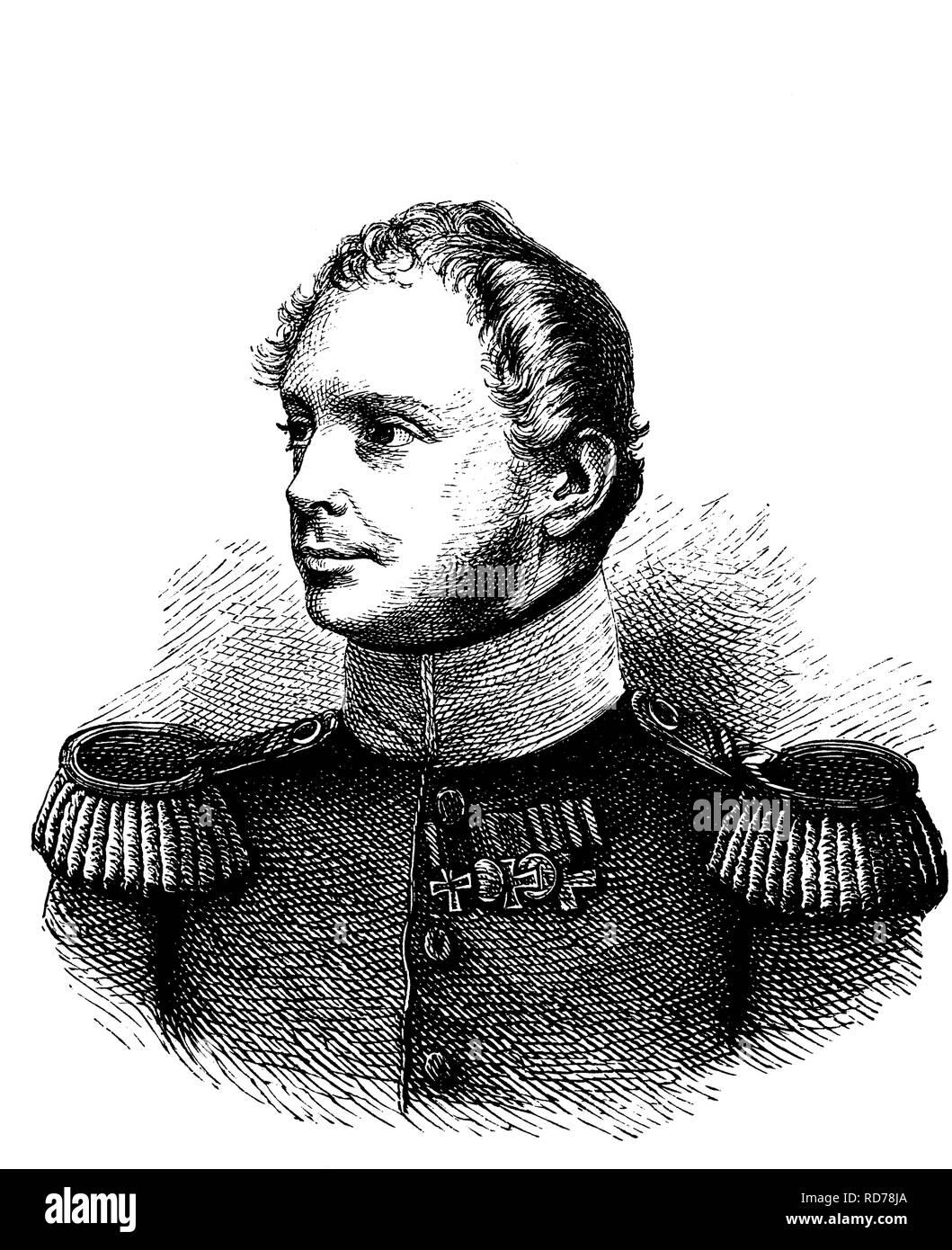 Friedrich Wilhelm IV, 1795 - 1861, King of Prussia, historical woodcut, circa 1880 - Stock Image