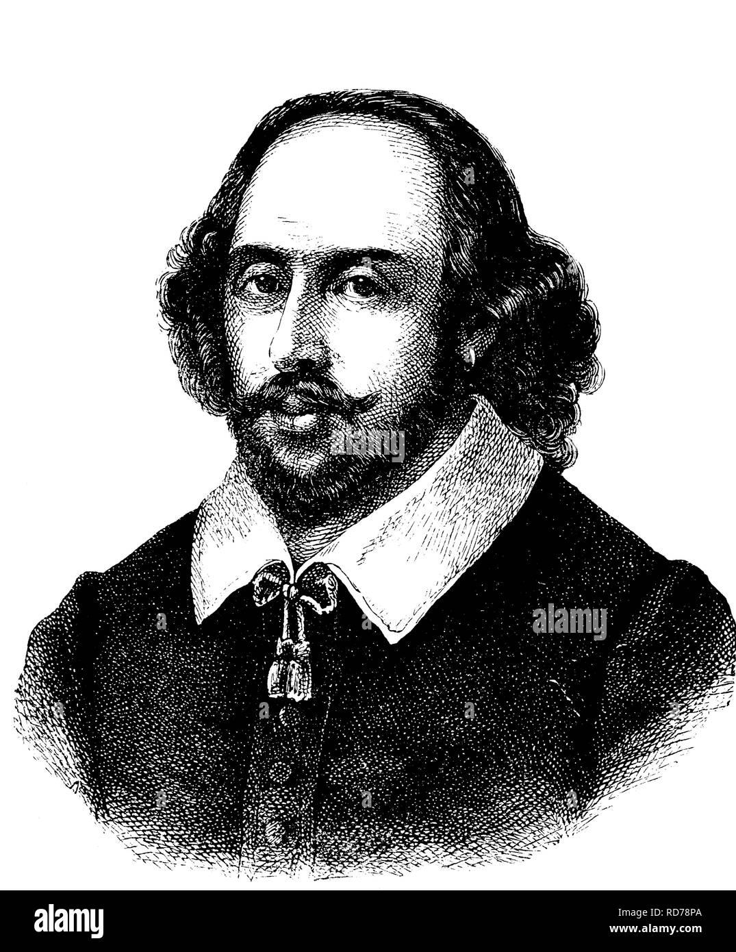 William Shakespeare, 1564 - 1616, English dramatist and poet, historical woodcut, 1880 Stock Photo