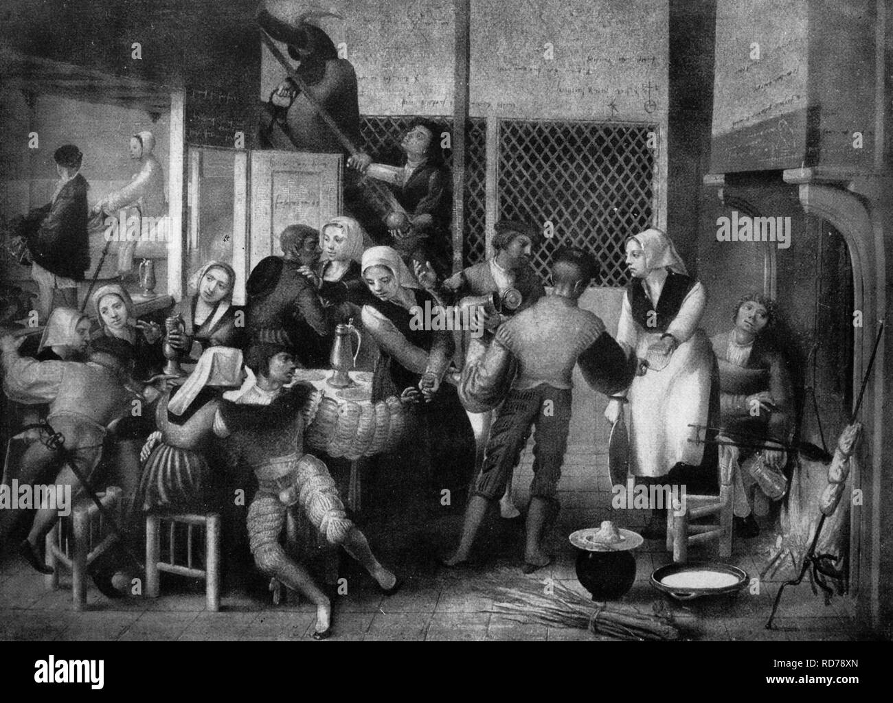 Life in a women's shelter, after a painting by Jan van Hemessen, 16th century, historical woodcut, circa 1865 - Stock Image