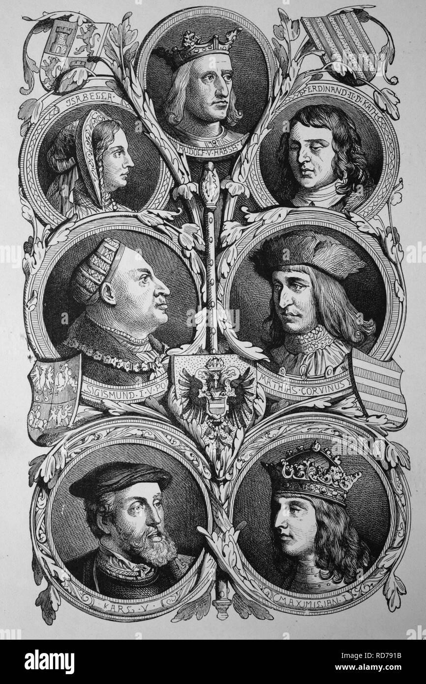 Habsburg kings: Rudolf I, Ferdinand V, Sigismund, Mathias Corvinus, Maximilian I, Charles V, historic woodcut, 1870 - Stock Image