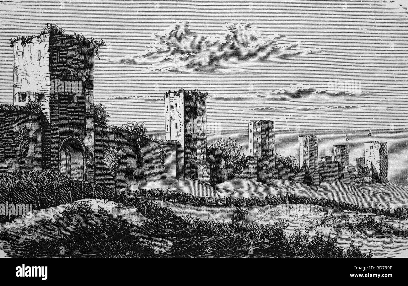 City walls of Visby, Sweden, in the Middle Ages, historical woodcut, 1870 - Stock Image