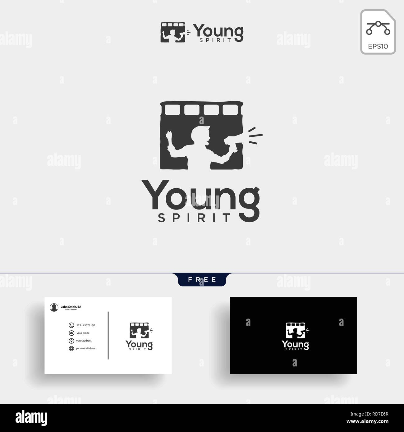 children film, broadcast logo template vector illustration with business card, icon element isolated - Stock Image