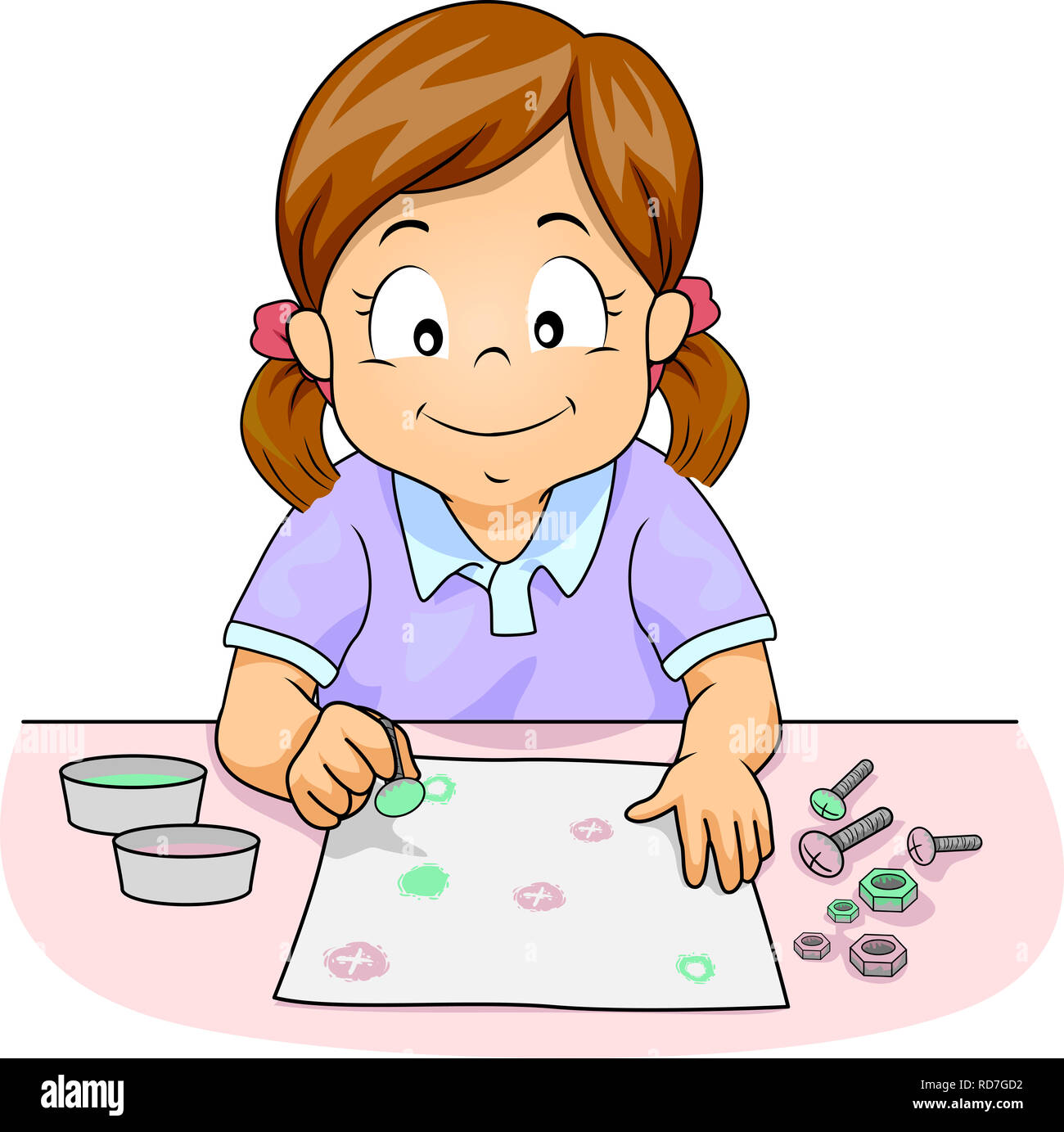 Illustration Of A Kid Girl Painting On Paper Using Bolt And Screw Stock Photo Alamy