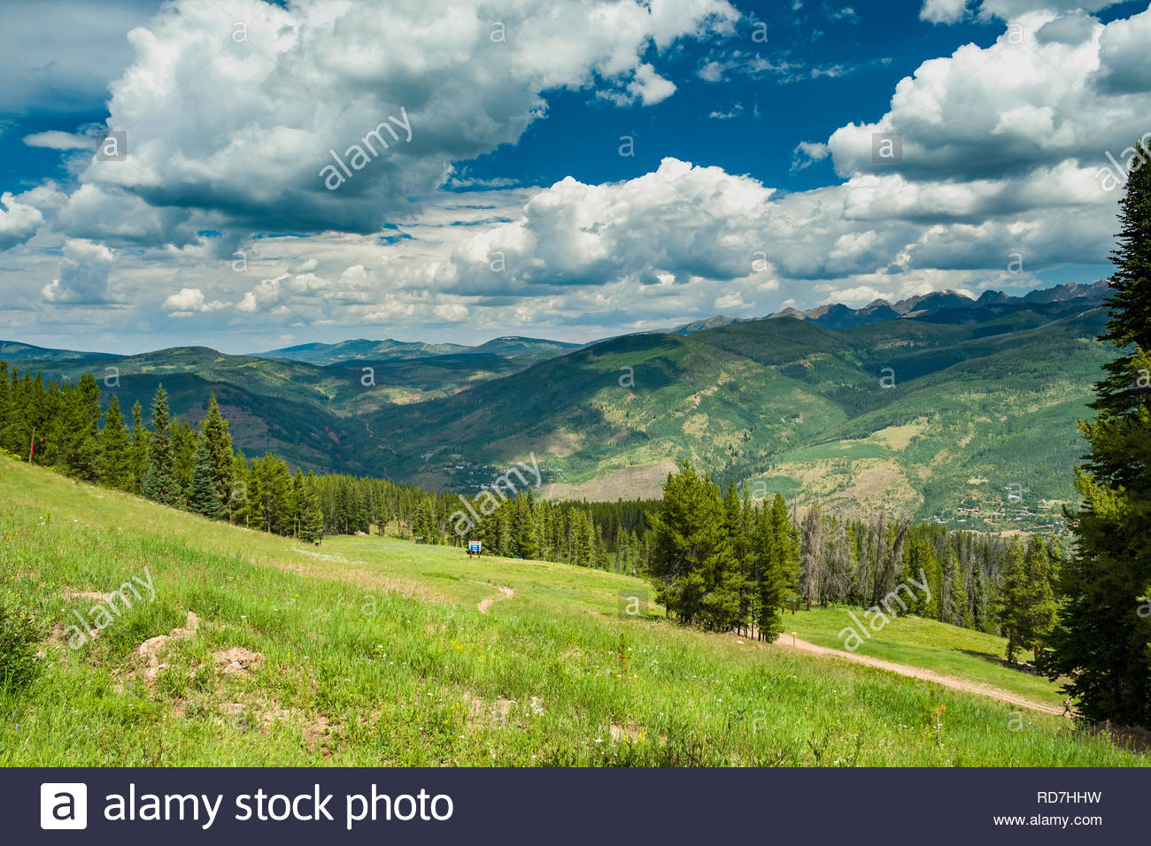 View of Vail Valley from Vail Mountain, Vail, Eagle County, Colorado, USA - Stock Image