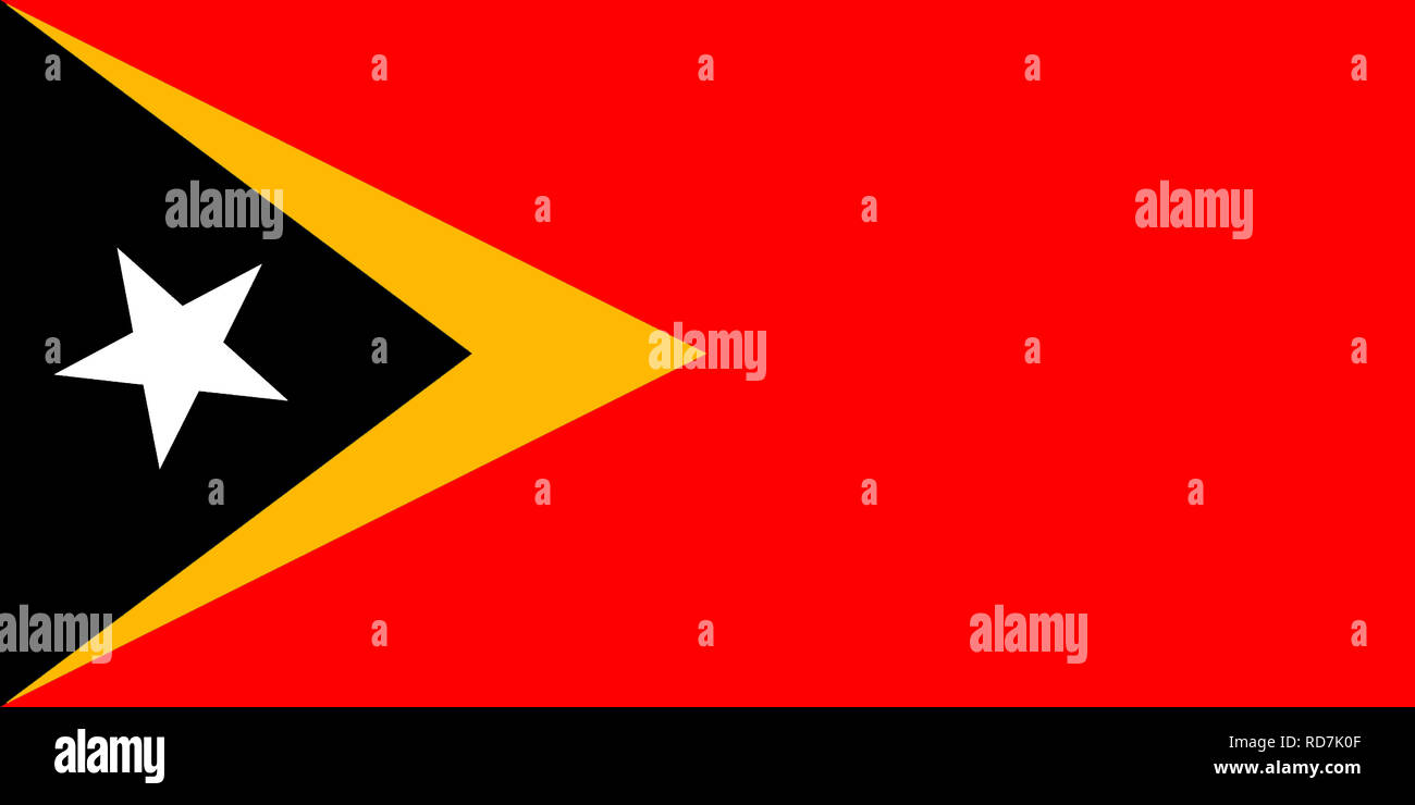 National flag of the Democratic Republic of Timor-Leste - East Timor. Stock Photo