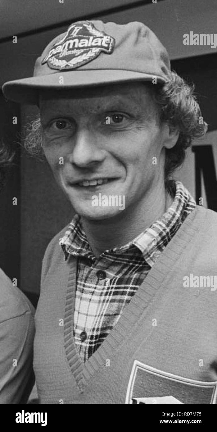 933-1302 Huub Rothengatter, Alain Prost, Niki Lauda 29.10.1984 Lauda crop. - Stock Image