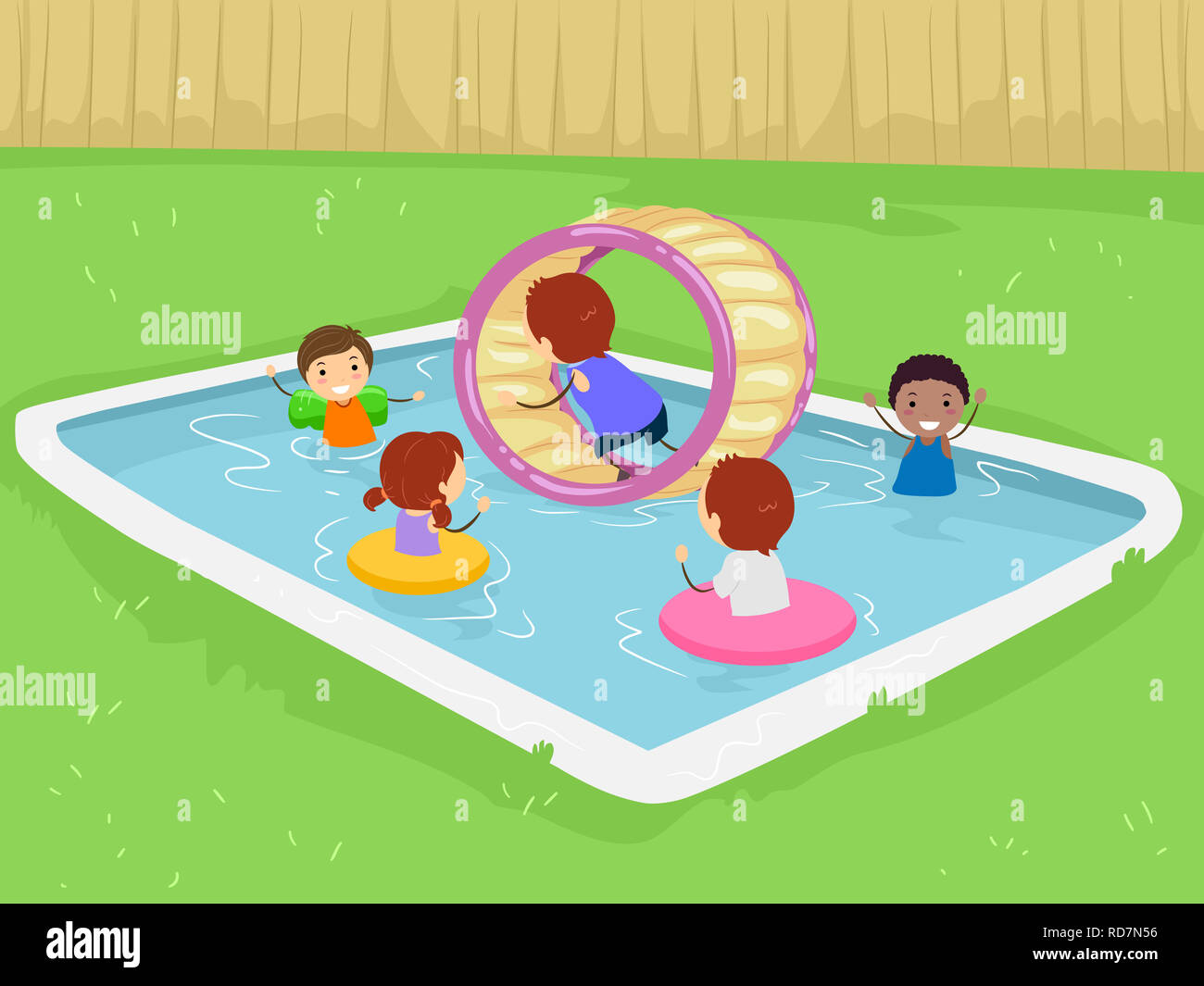Illustration of Stickman Kid In the Pool in the Backyard with Inflatable Wheel and Flotation Devices Stock Photo