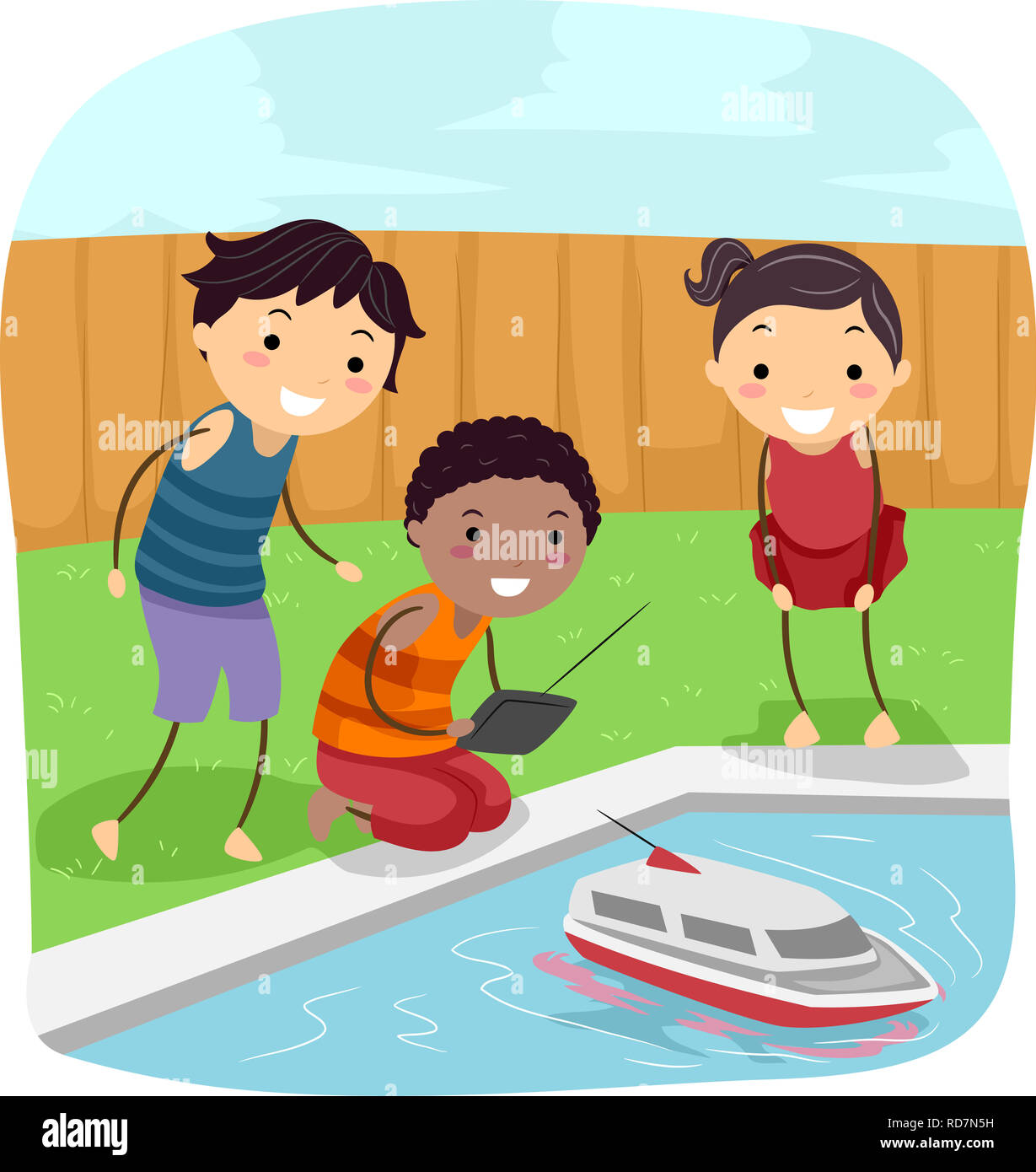 Illustration of Stickman Kids Sailing a Toy Ship Using ...