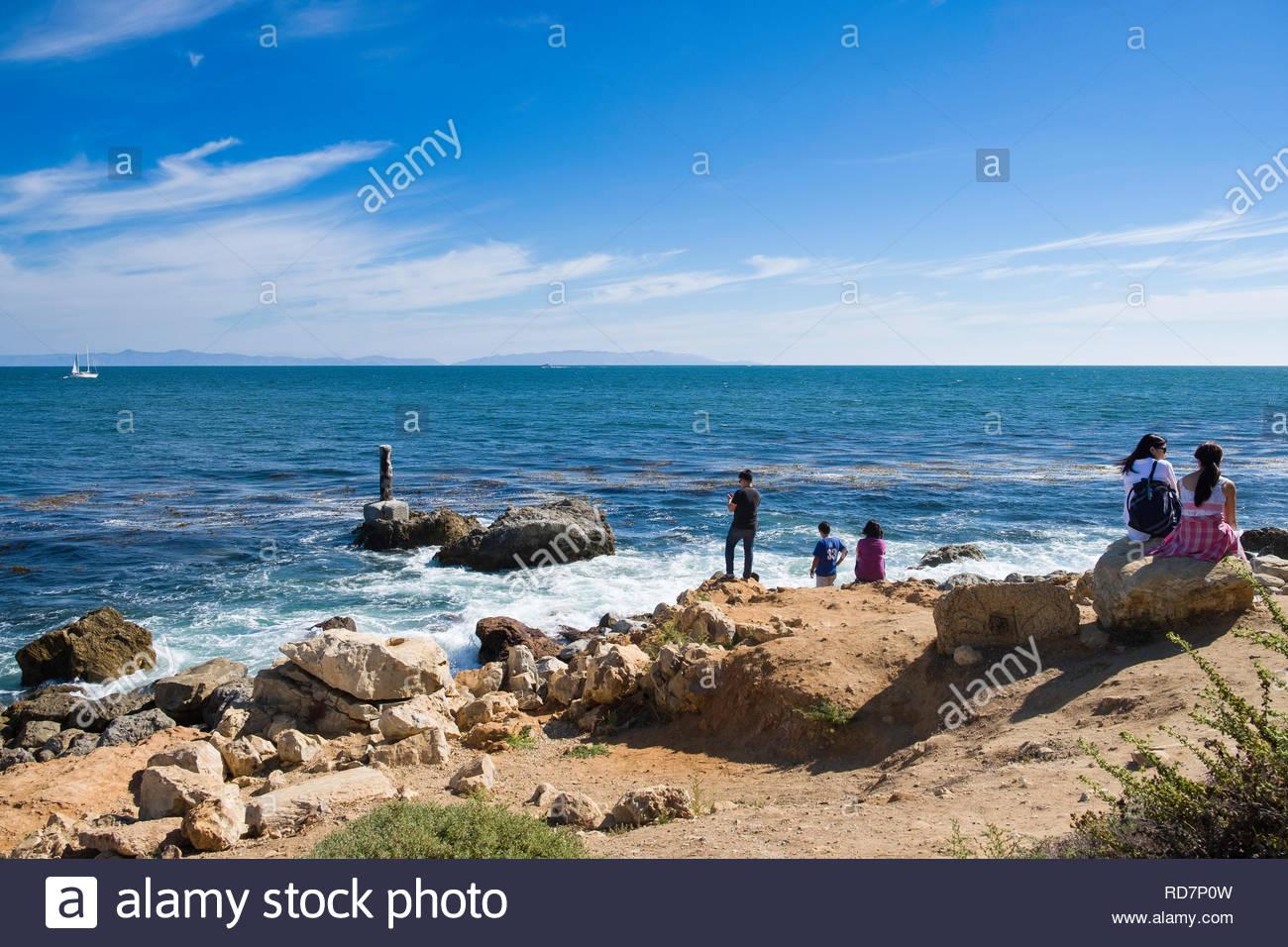Santa Catalina Island seen from Long Point along Terranea trail, Palos Verdes Peninsula, Los Angeles County, California, USA - Stock Image