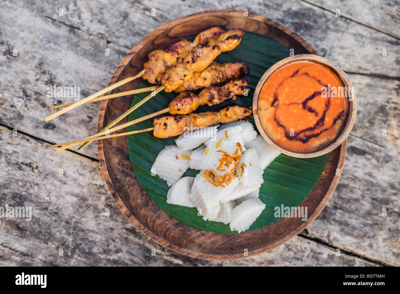 Indonesian Chicken Satay Or Sate Ayam Served With Lontong Soy Sauce And Peanut Sauce Lifestyle Food Stock Photo Alamy