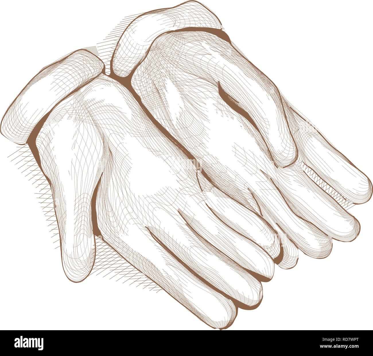 Sketch Illustration of Gardening Gloves. Crosshatching Style