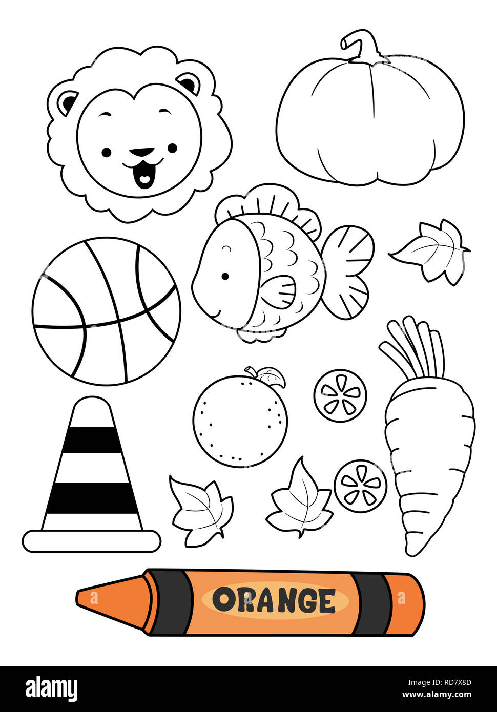 Illustration of an Orange Crayon with Orange Colored ...