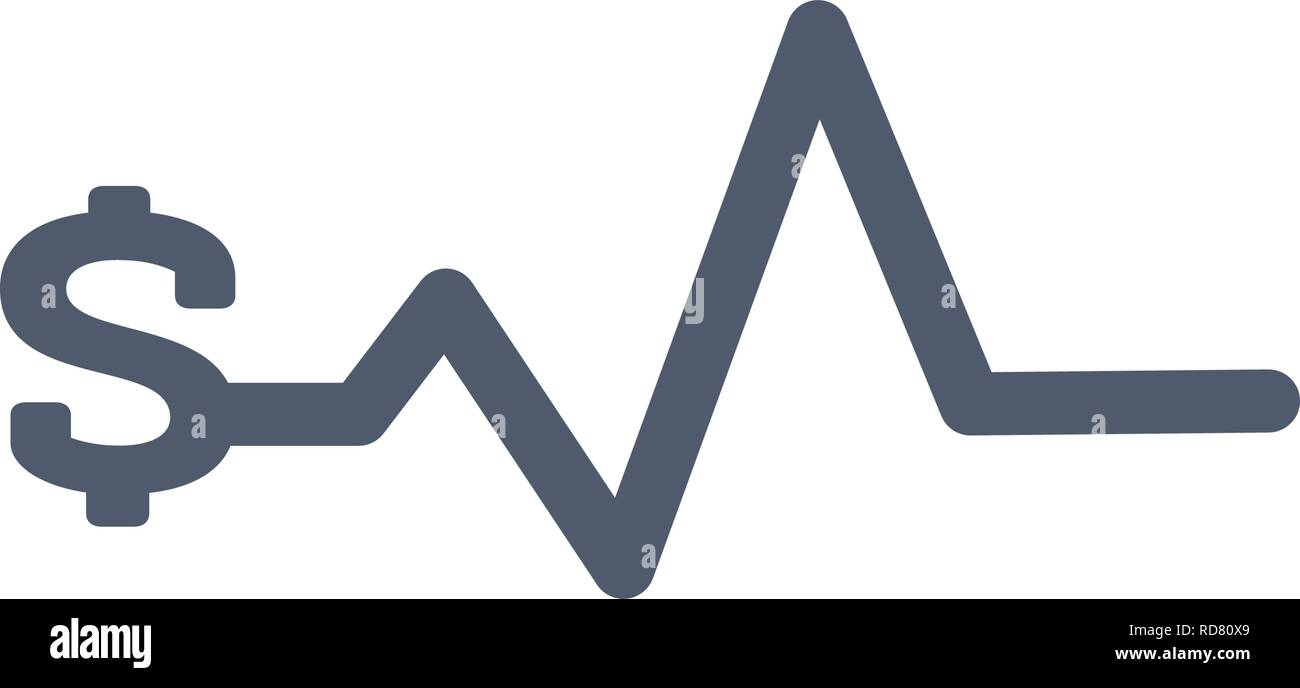 Heartbeat pulse with dollar sign, bussiness finance concept. vector illustration isolated on white - Stock Image