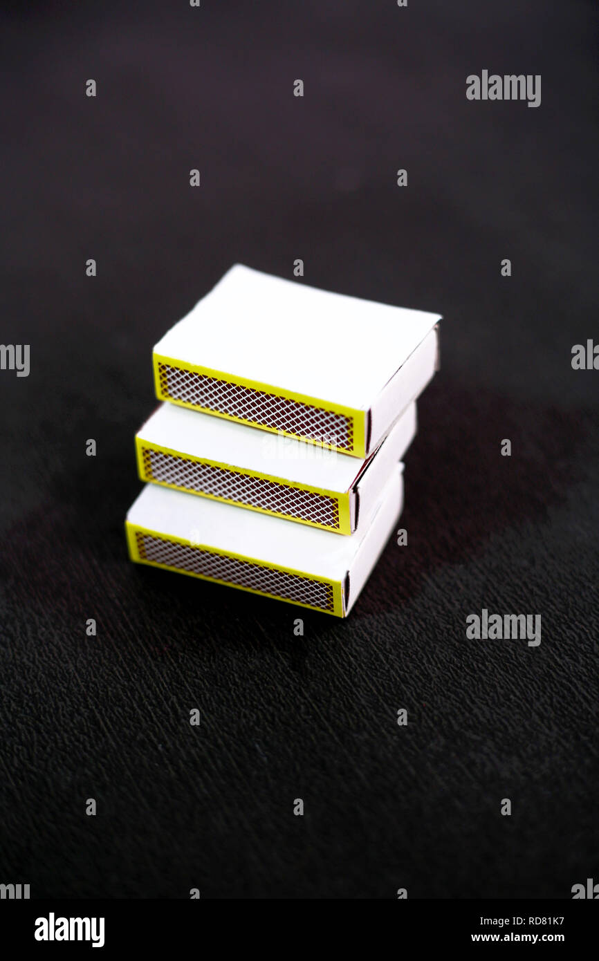 Picture of match box. Isolated on the black background. - Stock Image