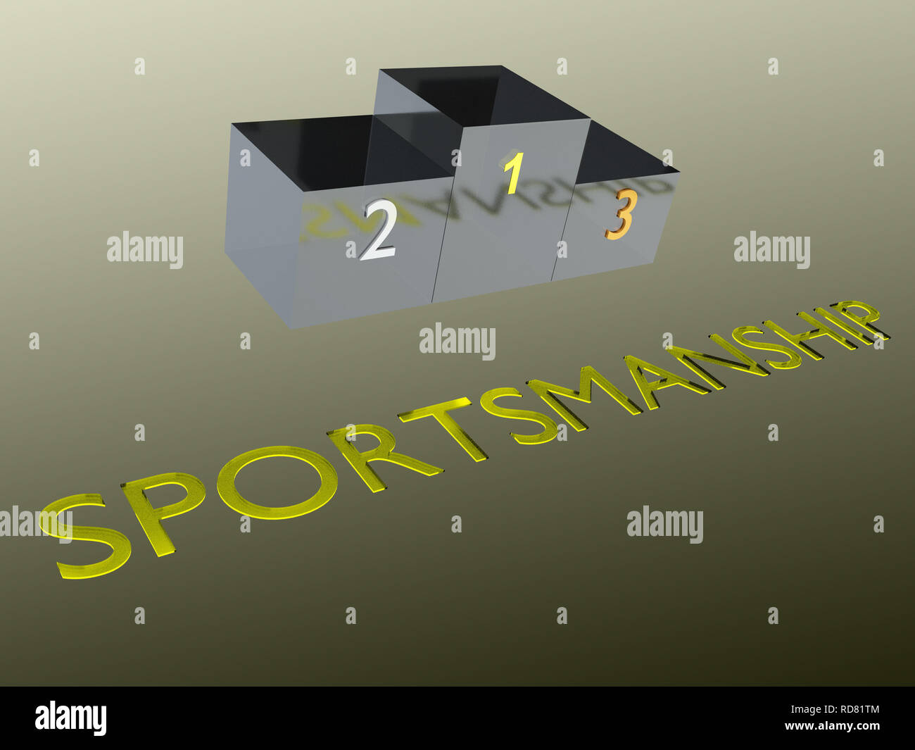 3D illustration of SPORTSMANSHIP title with a podium as a background - Stock Image