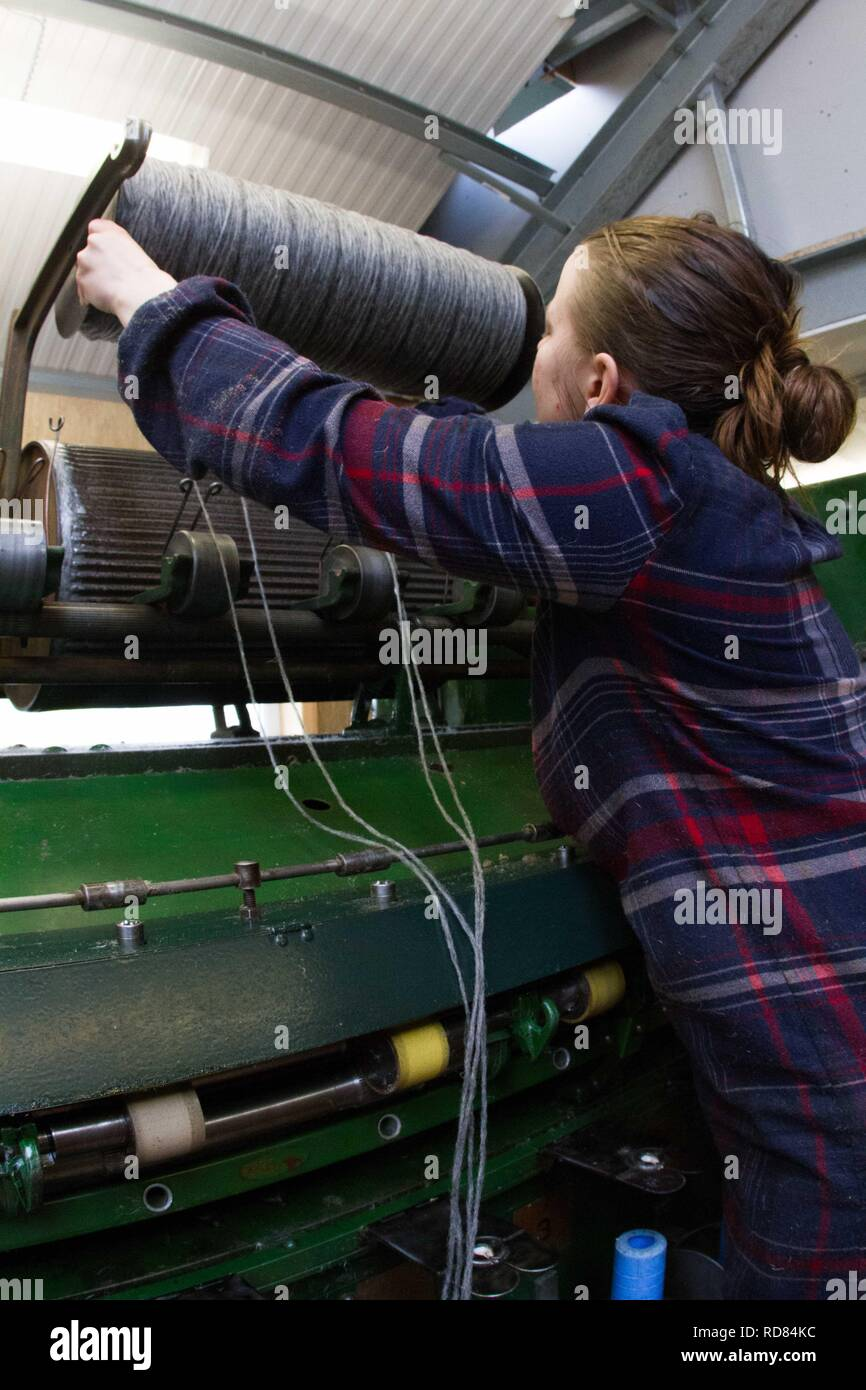 Highly skilled Swedish woman using restored wool and textile machines from 19th century to run a production line of sustainably produced wool and textile products . Stock Photo