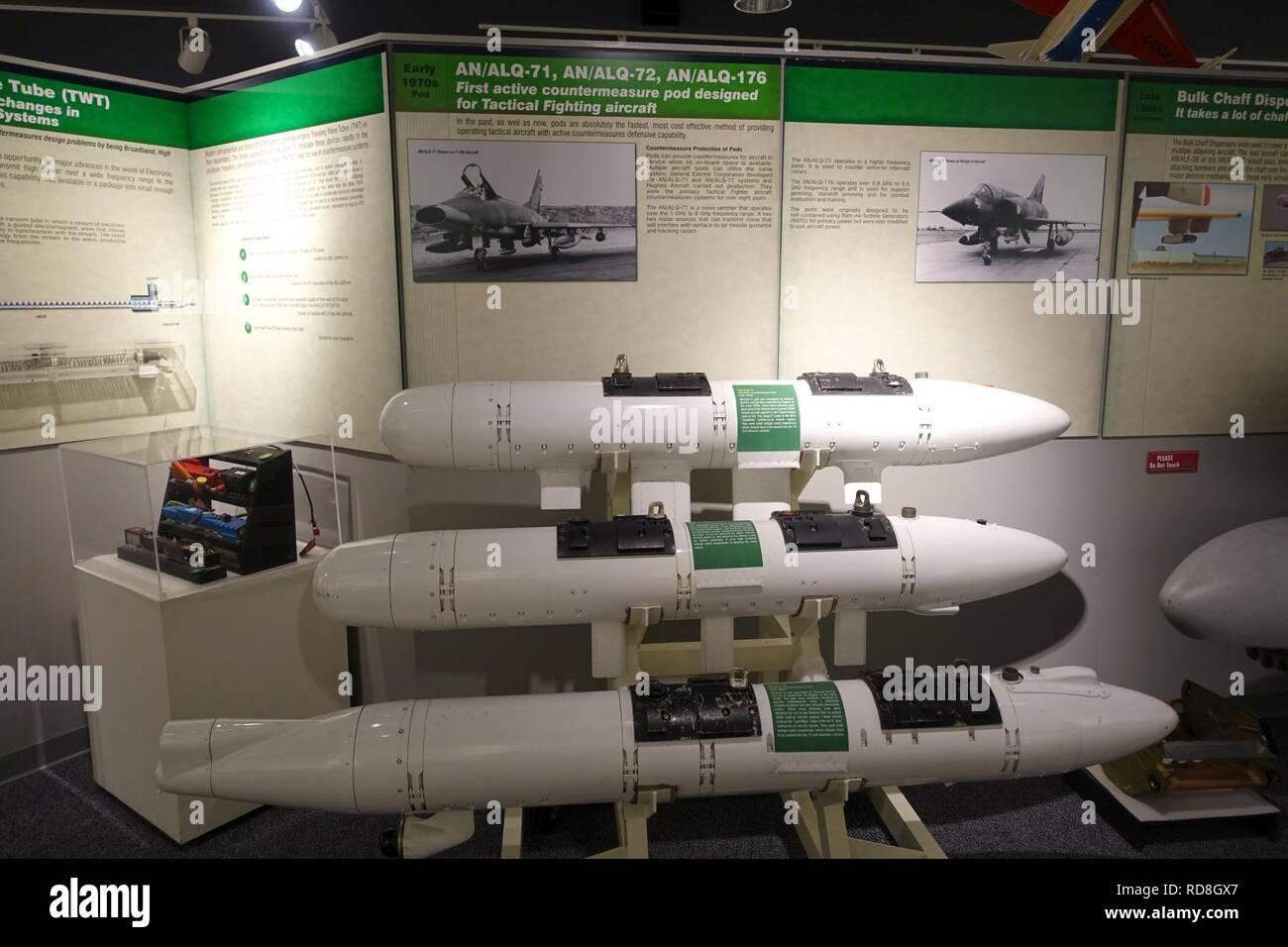 AN-ALQ-71, AN-ALQ-72, and AN-ALQ-176 countermeasure pods - - Stock Image