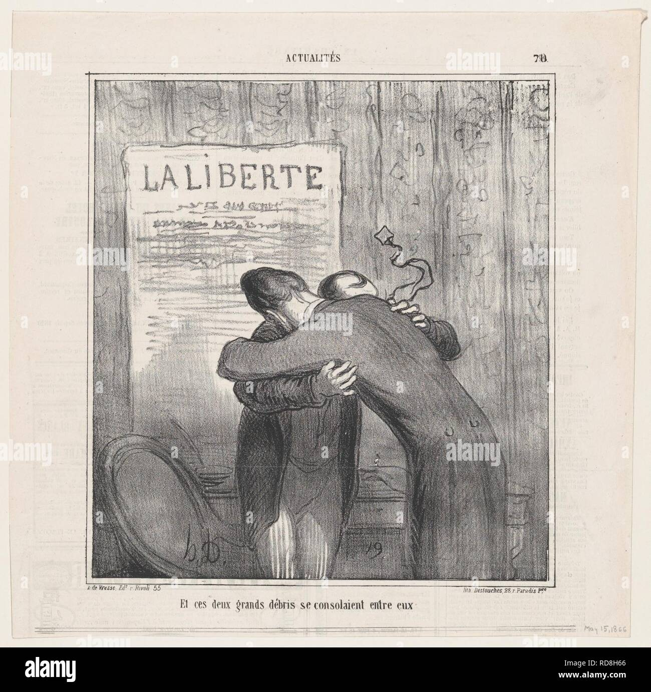 And these two old wrecks consoled each other, from 'News of the day,' published in Le Charivari, May 15, 1866 - Stock Image