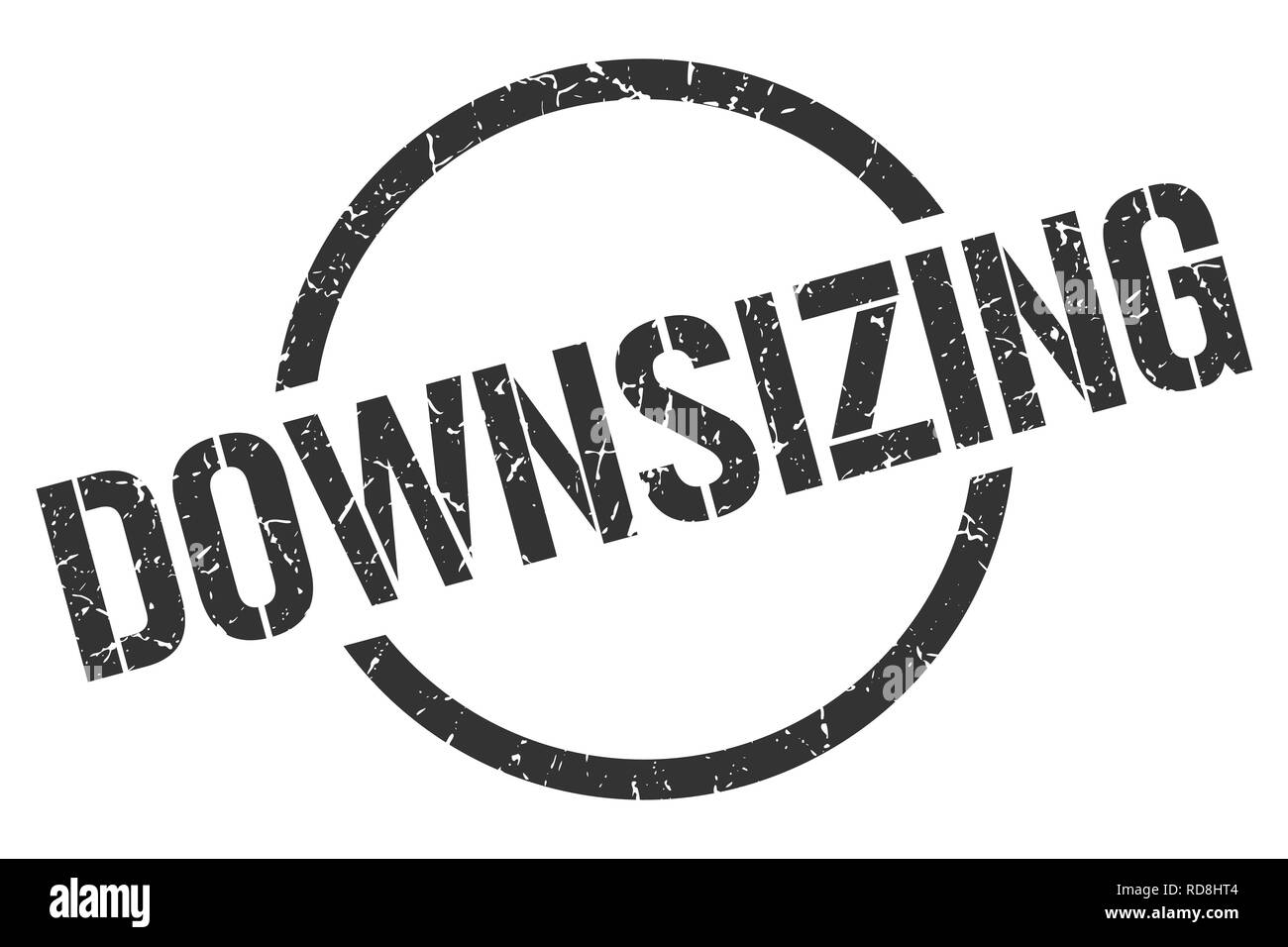 downsizing black round stamp - Stock Vector