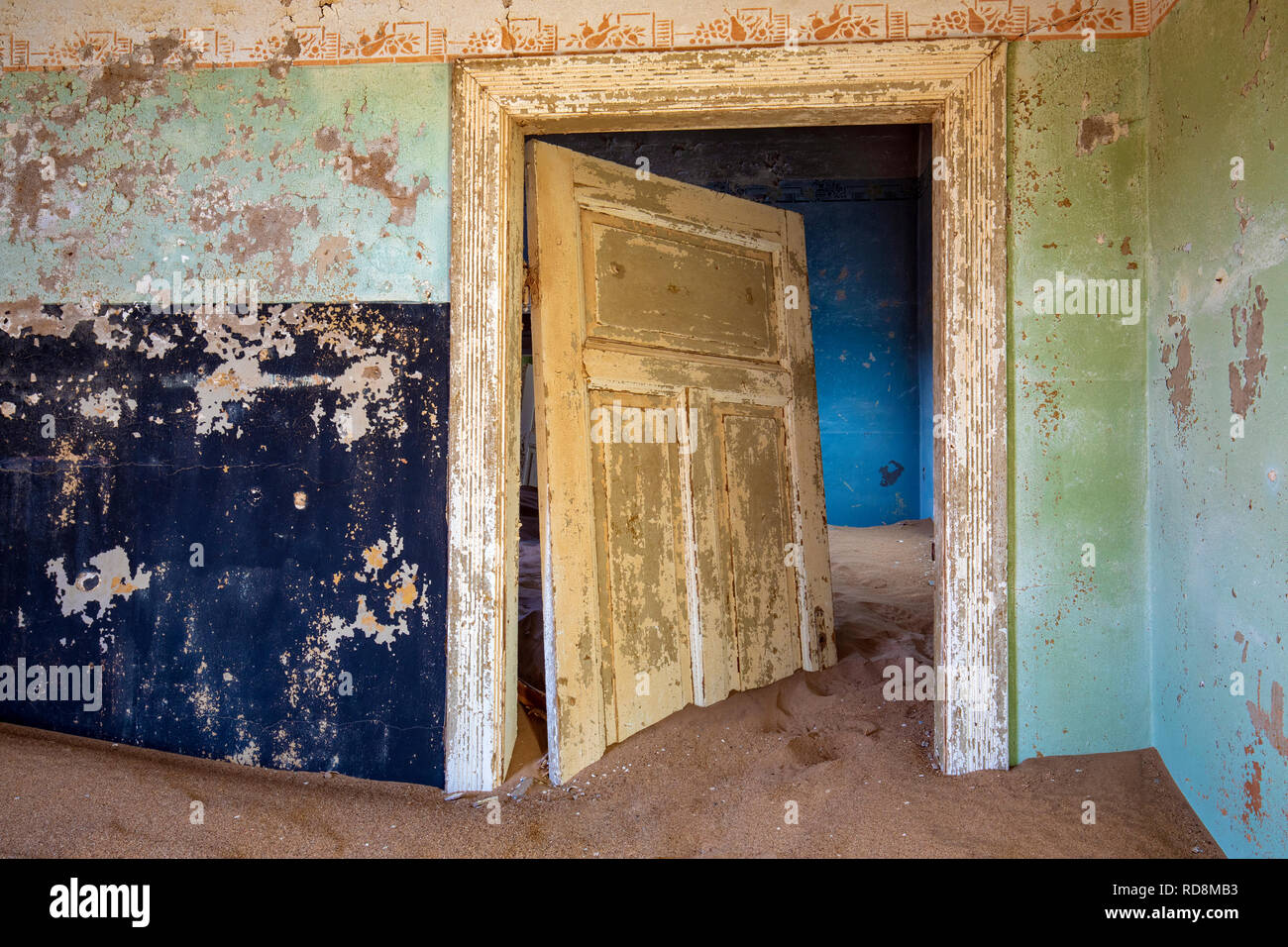 Colorful doorway in Kolmanskop Ghost Town - Luderitz, Namibia, Africa - Stock Image