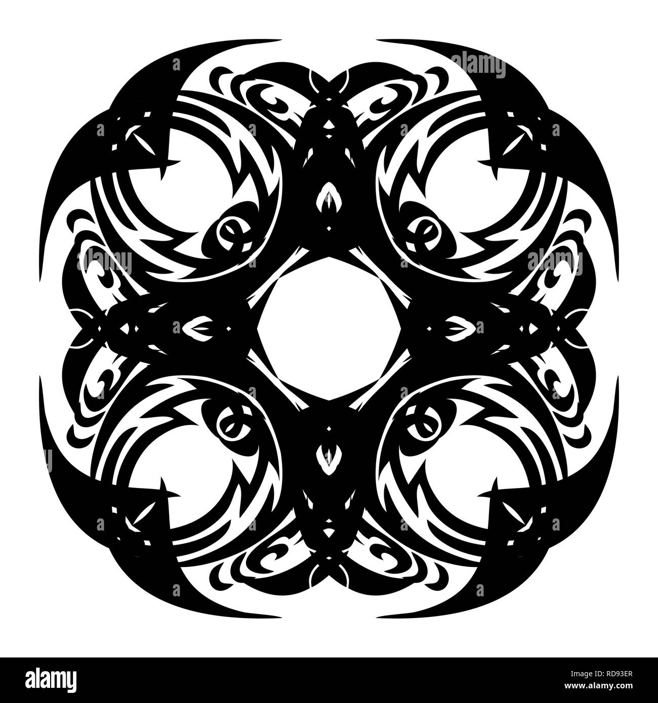 a8488aca4 Abstract mandala with black elements on a white background. - Stock Image