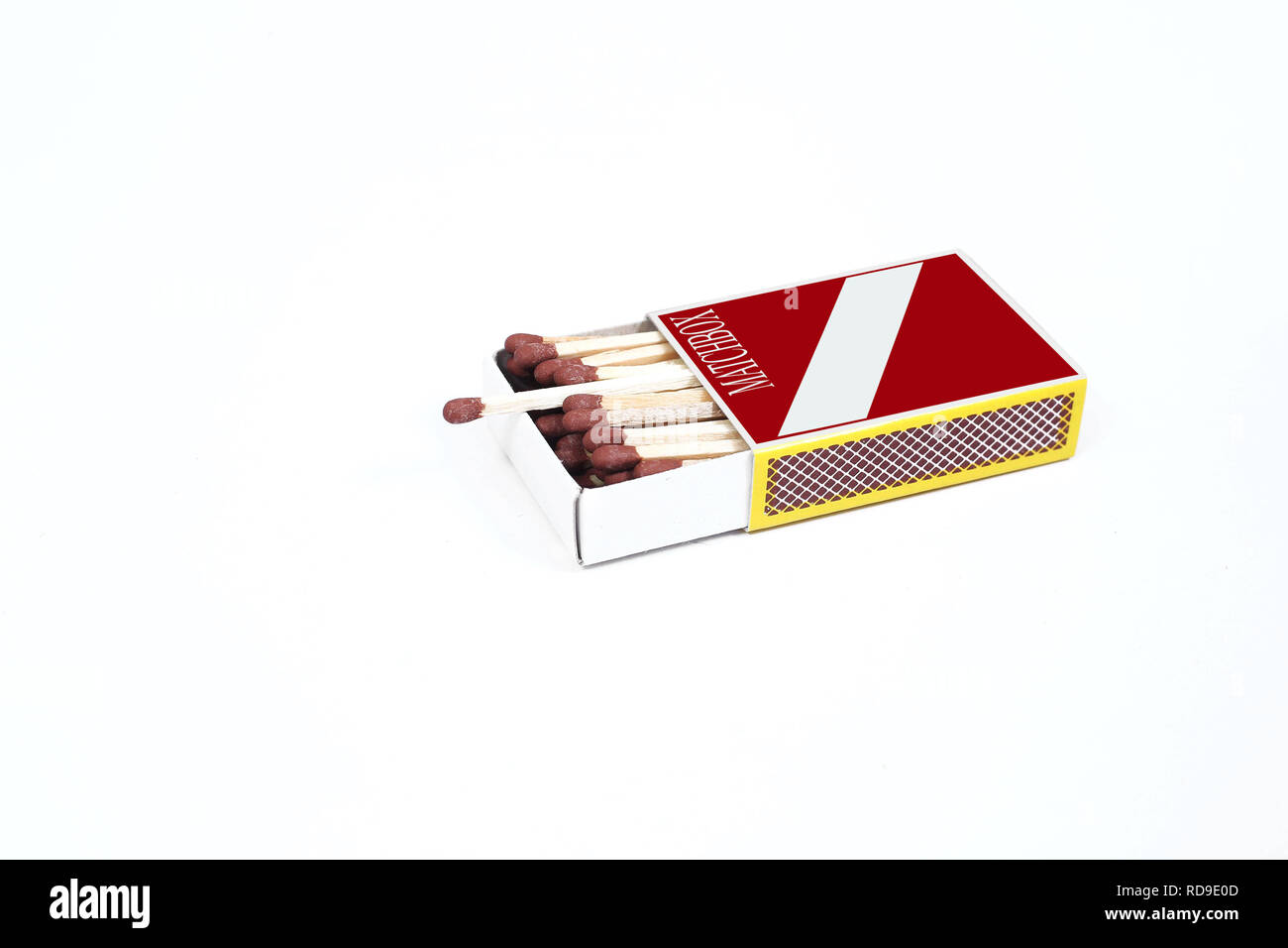 Picture of matches in the match box. Isolated on the white background. - Stock Image
