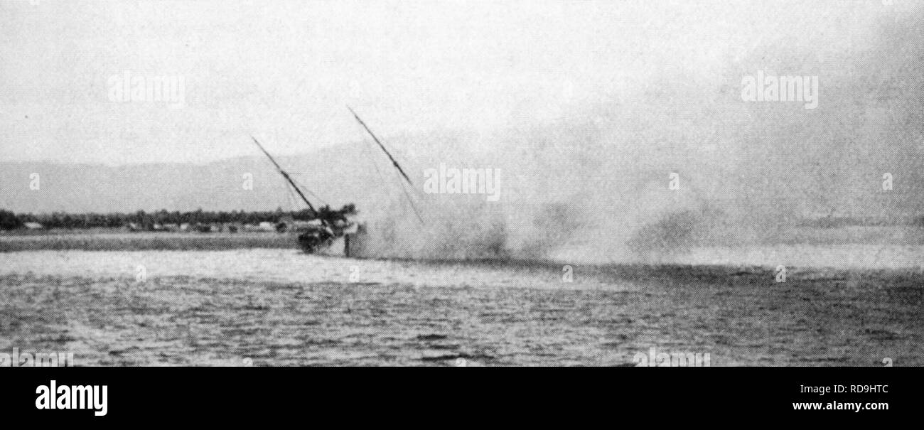 The Haitian gunboat Crete-à-Pierrot sinking after bombardment by SMS Panther in the port of Gonaives 6 September 1902. - Stock Image