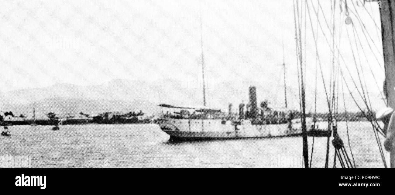 Haitian gunboat Crête-à-Pierrot on 6 September 1902 at the Port of Gonaives shortly before the sinking by SMS Panther. - Stock Image
