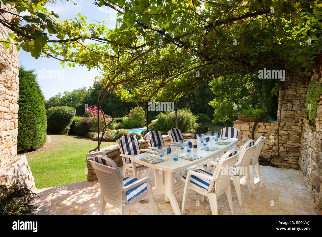 Garden With Swimming Pool table and chairs set in a beatiful french garden with
